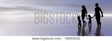 digitally created background with room for text showing a young happy family taking a stroll at the beach
