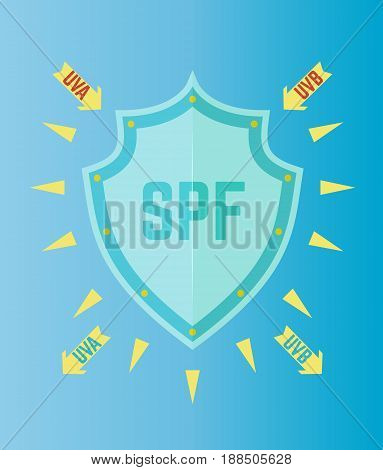UV Protection SPF shield color vector illustration