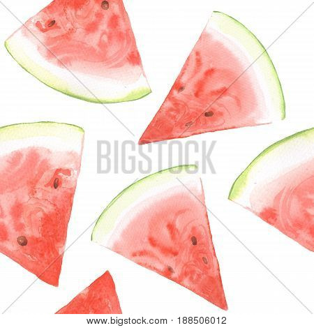 Watermelon pattern. Watercolor painting. Seamless background