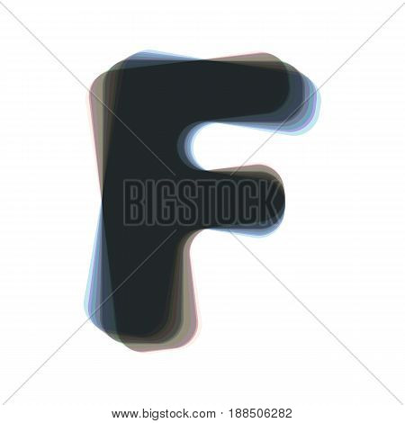 Letter F sign design template element. Vector. Colorful icon shaked with vertical axis at white background. Isolated.