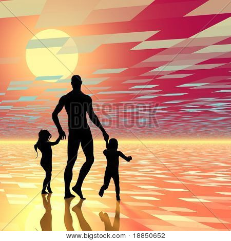 digitally created conceptual background design showing a single dad, room for text