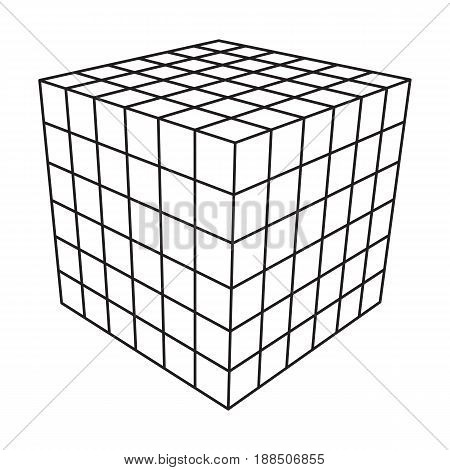 Wireframe Mesh Cube. Connection Structure. Digital Data Visualization Concept. Vector Illustration.