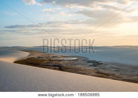Lagoons In The Desert Of Lencois Maranhenses National Park, Brazil, Low, Flat, Flooded Land, Overlai