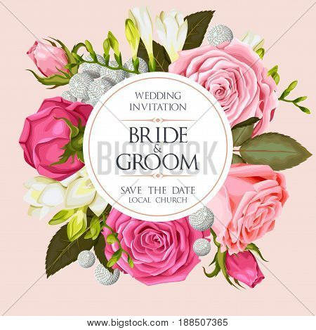 Vintage wedding invitation with varicolored beautiful roses and freesias