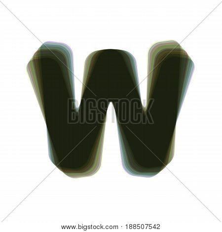 Letter W sign design template element. Vector. Colorful icon shaked with vertical axis at white background. Isolated.