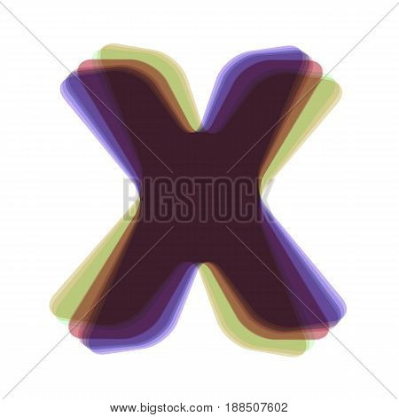 Letter X sign design template element. Vector. Colorful icon shaked with vertical axis at white background. Isolated.