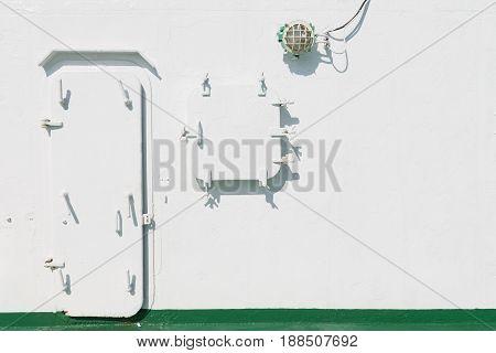 Metal Batten Down Door And Window On The Ship