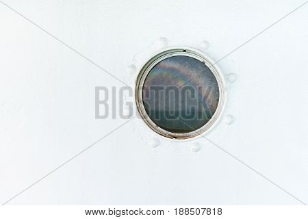 Round Porthole On The Ship White Wall