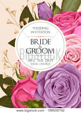 Vintage wedding invitation with varicolored beautiful roses