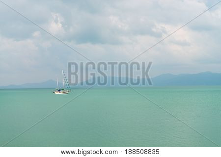 Sailing Yacht  In The Clear And Calm Sea