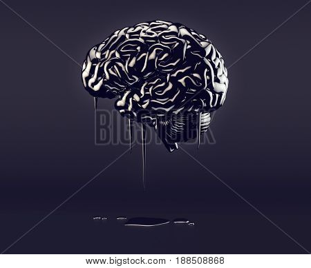 3d illustration of human brain made of oil concept of petroleum mania