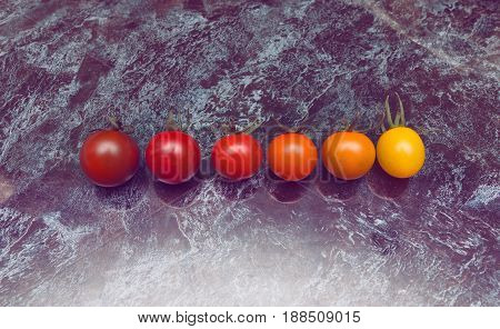 Perfect color gradation line of diverse kinds of tomatoes on the table