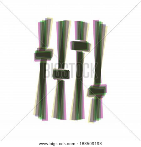 Adjustment music line sign. Vector. Colorful icon shaked with vertical axis at white background. Isolated.