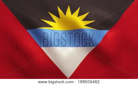 Antigua flag with fabric texture. 3D illustration.