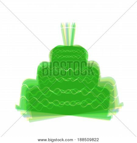 Cake with candle sign. Vector. Colorful icon shaked with vertical axis at white background. Isolated.