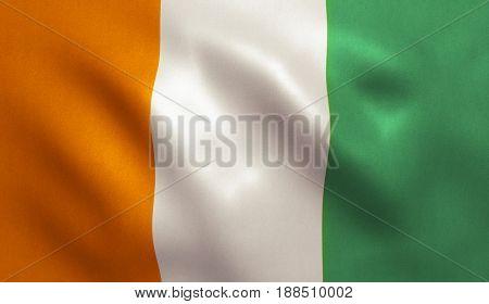 Ivory Coast / Cote d'Ivoire flag with fabric texture. 3D illustration.