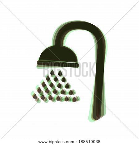 Shower sign. Vector. Colorful icon shaked with vertical axis at white background. Isolated.