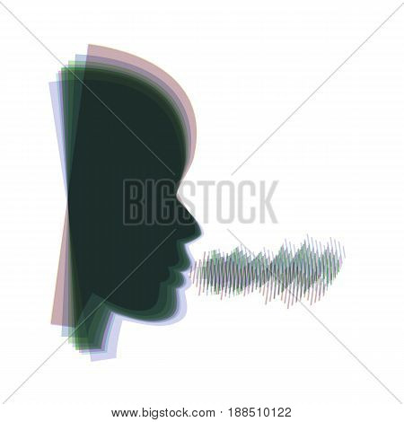 People speaking or singing sign. Vector. Colorful icon shaked with vertical axis at white background. Isolated.