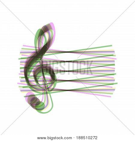 Music violin clef sign. G-clef. Vector. Colorful icon shaked with vertical axis at white background. Isolated.