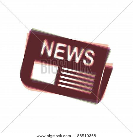 Newspaper sign. Vector. Colorful icon shaked with vertical axis at white background. Isolated.