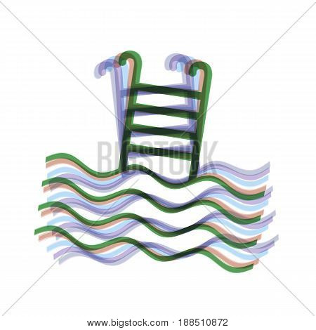 Swimming Pool sign. Vector. Colorful icon shaked with vertical axis at white background. Isolated.