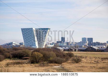 Copenhagen, Denmark - March 28, 2017: Exterior view of the Bella Sky Hotel in Orestad district
