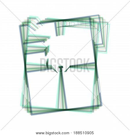 Apartment house floor plans. Vector. Colorful icon shaked with vertical axis at white background. Isolated.