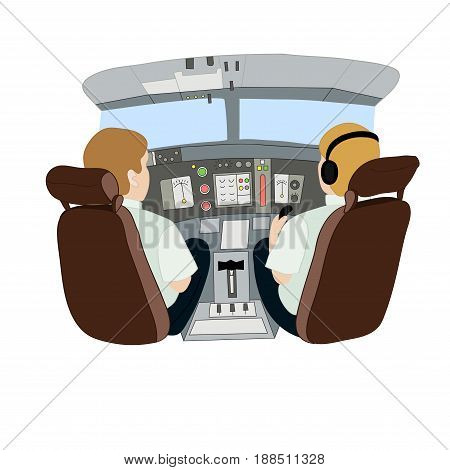 Vector illustration depicting pilots in an airplane from the back
