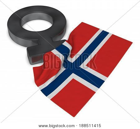 female symbol and flag of norway - 3d rendering