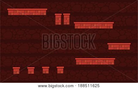 Collection stock game background wall style vector art