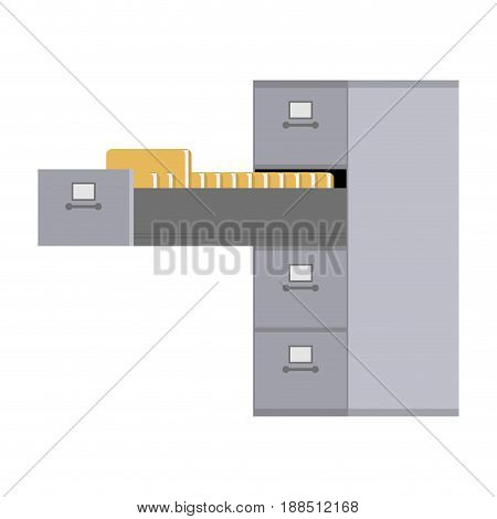 File Cabinet Open. Card Index  Iron Box For Documents. Office Furniture