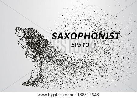 Saxophone Of Particles. A Silhouette Of A Saxophone Consists Of Dots And Circles. Vector Illustratio