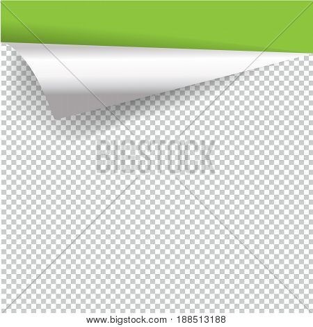 Curly Page Corner realistic illustration with transparent shadow.