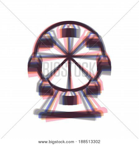 Ferris wheel sign. Vector. Colorful icon shaked with vertical axis at white background. Isolated.