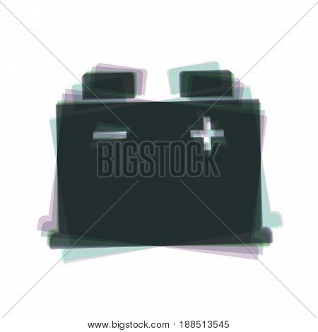 Car battery sign. Vector. Colorful icon shaked with vertical axis at white background. Isolated.