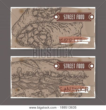 Set of two landscape banners with burrito and sandwich sketch on grunge background. Street food series. Great for market, restaurant, cafe, food label design.