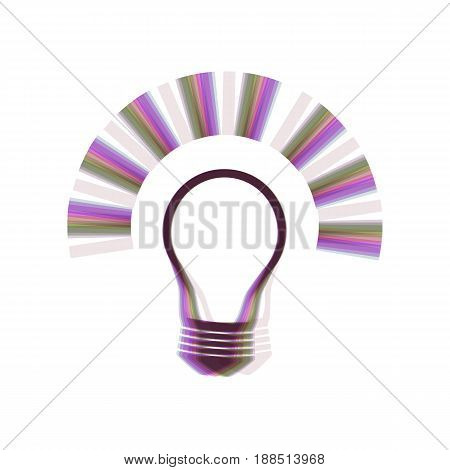 Light lamp sign. Vector. Colorful icon shaked with vertical axis at white background. Isolated.