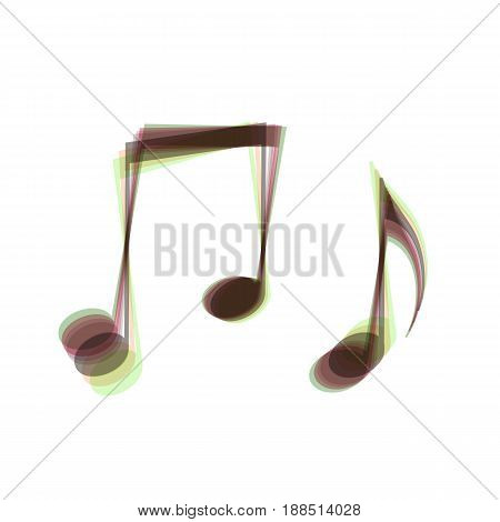 Music notes sign. Vector. Colorful icon shaked with vertical axis at white background. Isolated.