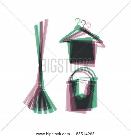 Broom, bucket and hanger sign. Vector. Colorful icon shaked with vertical axis at white background. Isolated.