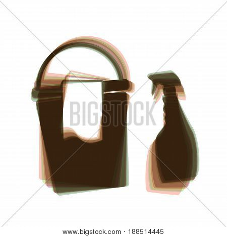 Bucket and a rag with Household chemical bottles. Vector. Colorful icon shaked with vertical axis at white background. Isolated.