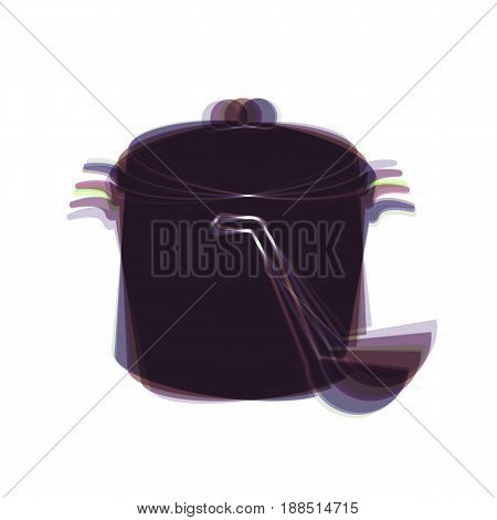Pan with steam sign. Vector. Colorful icon shaked with vertical axis at white background. Isolated.