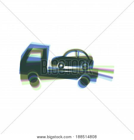 Tow car evacuation sign. Vector. Colorful icon shaked with vertical axis at white background. Isolated.