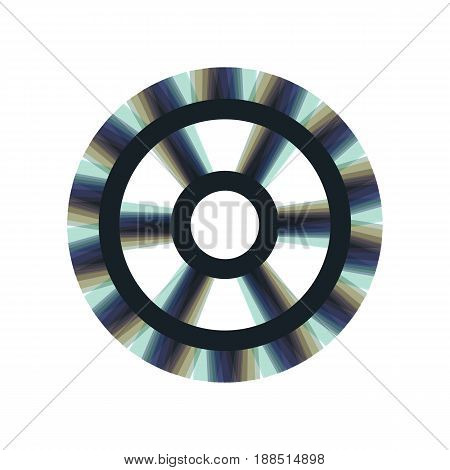 Gear sign. Vector. Colorful icon shaked with vertical axis at white background. Isolated.