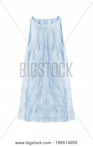 Pastel blue sleeveless linen sundress isolated over white
