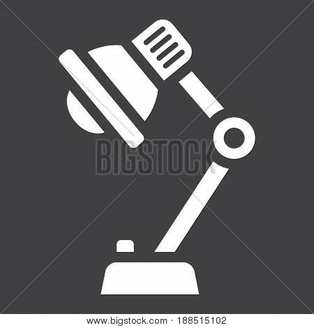 Desk lamp solid icon, bulb and light, vector graphics, a filled pattern on a black background, eps 10.