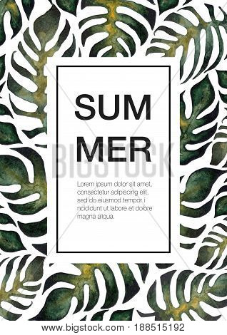 Summer template with watercolor fern and montera branches in frame