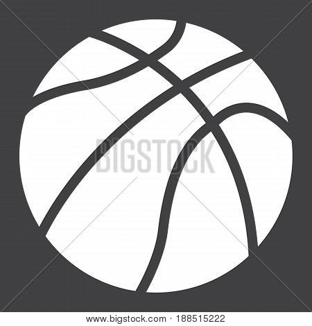 Basketball ball solid icon, sport and game, vector graphics, a filled pattern on a black background, eps 10.