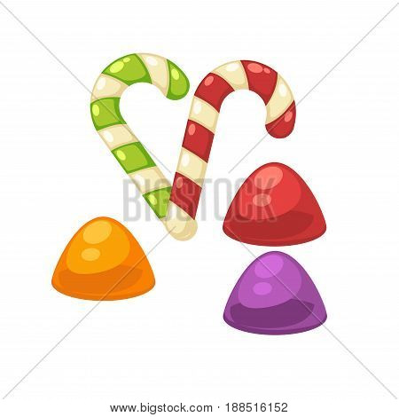 Candy canes and marmalade or caramel comfit sweets. Vector isolated flat icons of confectionery toffees or lpllipops