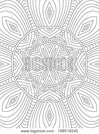 Page coloring book for adults mandala drawn with black lines on a white background