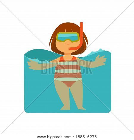 Girl kid bathing or swimming in sea water at beach and snorkeling in mask and pipe. Children on summer holidays vector isolated icon